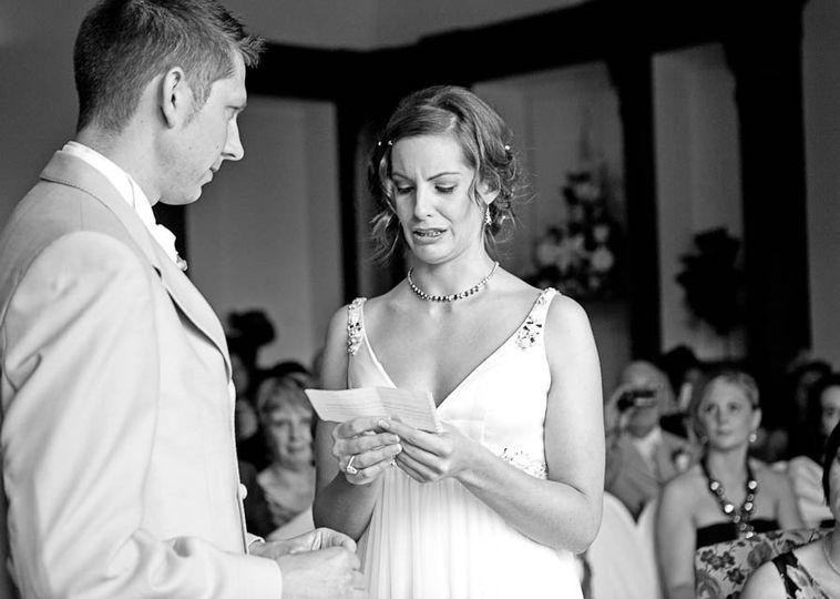 Wedding vows at Beaumanor Hall