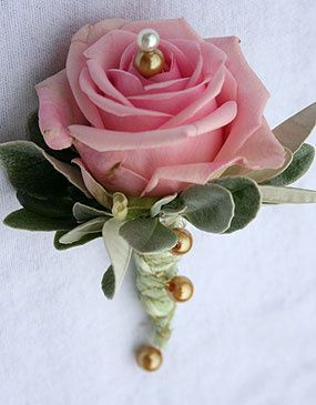 Pink Rose Buttonhole with gold bead embellishments