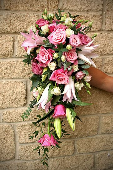 Shower bouquet with Lilies and Roses