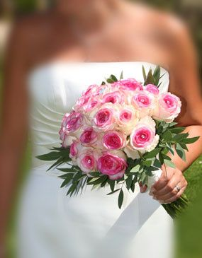 Brides hand-tied bouquet of dolce vita roses