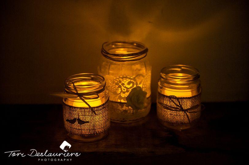 Jam jars with tea lights