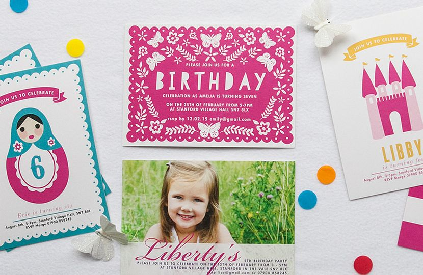 Girls party invitations