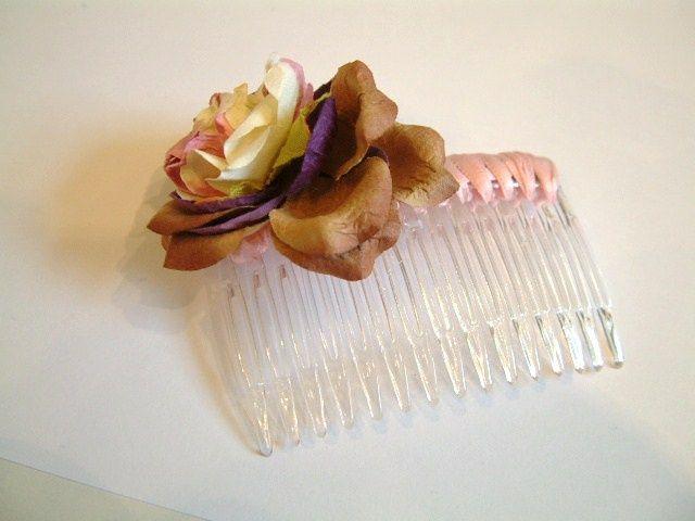 Russet Flower Hair Comb
