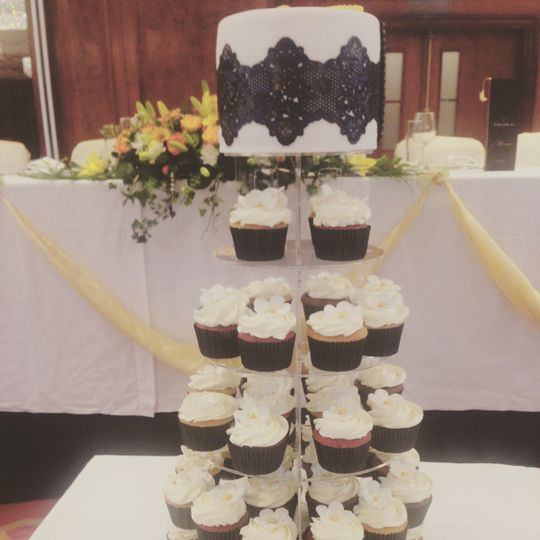 Lace cupcake tower