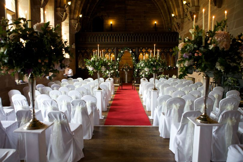 Peckforton Castle Chair Covers and Candelabras