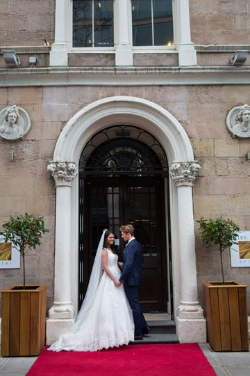 Bride and groom at entrance