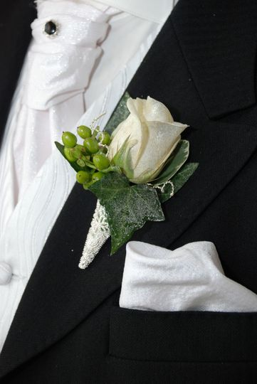 Grooms White Rose Button Hole