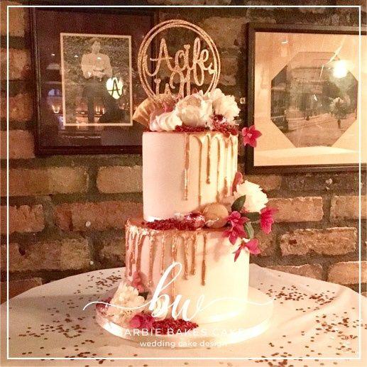 Rose Gold Drip Wedding Cake