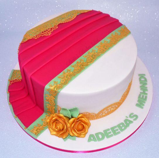 Pink & Mint Mehndi Cake