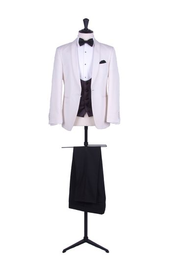 Cream shawl dinner suit