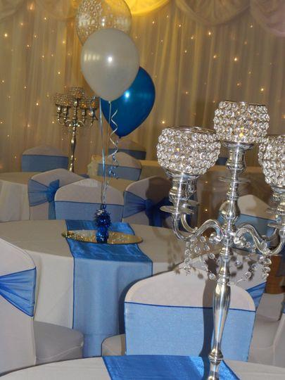 White & royal blue wedding
