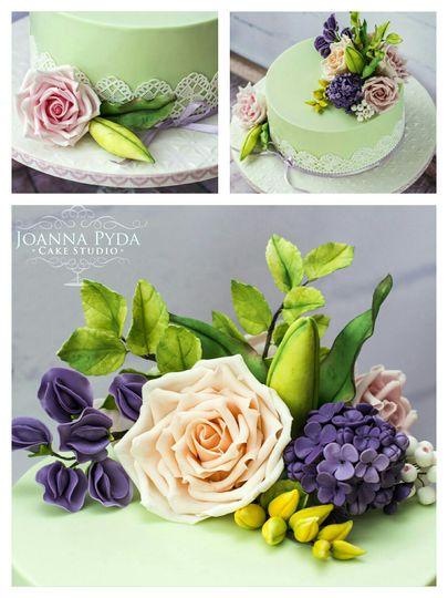 Mint floral wedding cake