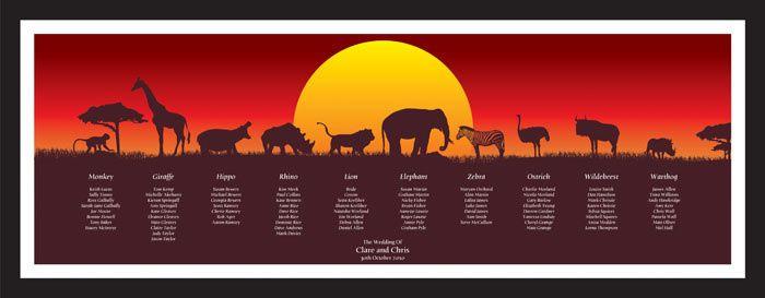 Safari Wedding Table Plan