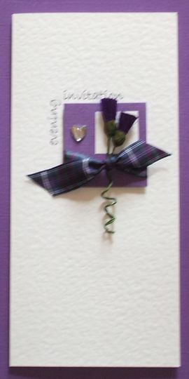 Purple thistles invitation
