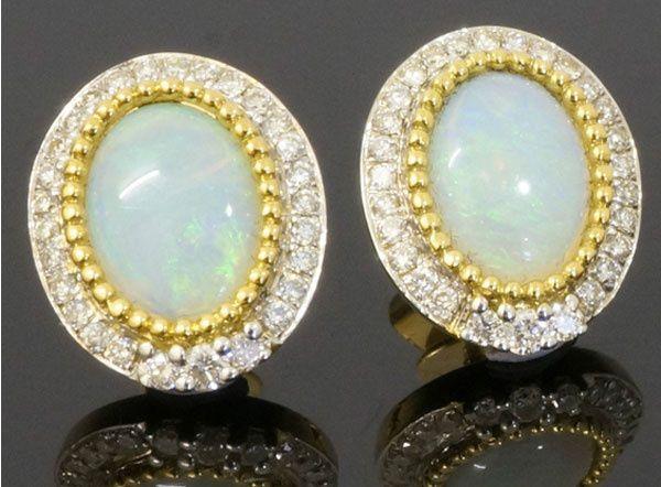 Yellow gold, opal earrings