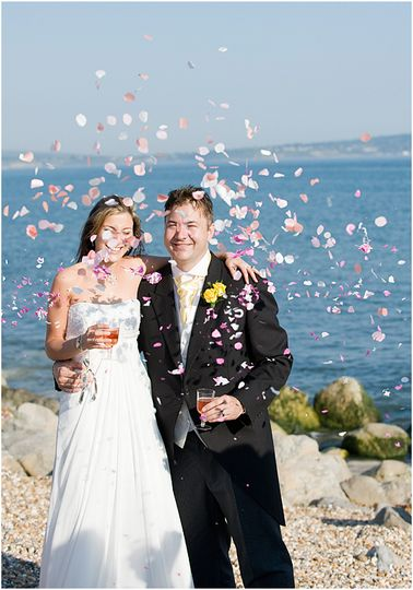 Confetti on the beach at Milford on Sea