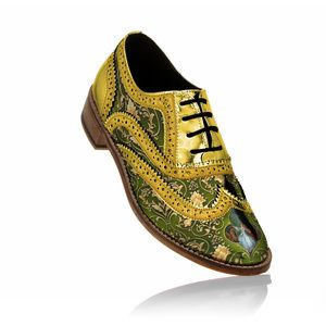 Unisex brogues gold and green