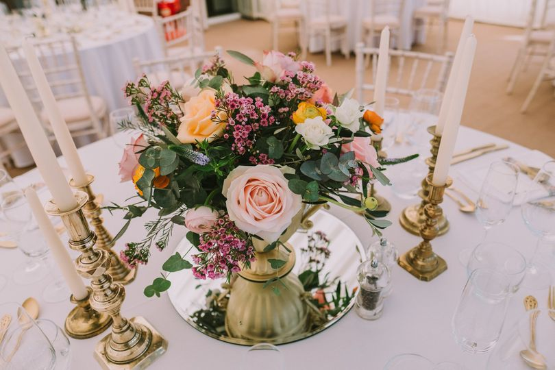 Gold Vase Centrepiece From Shropshire Wedding Hire Photos