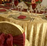 Gold table cloth