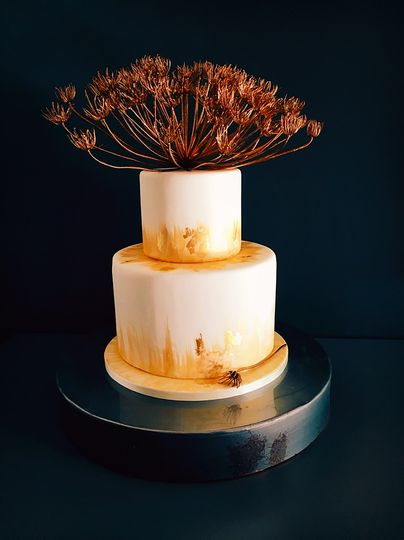 Sunset gold wedding cake