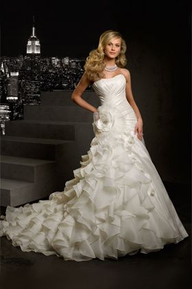 cascading layered wedding dress