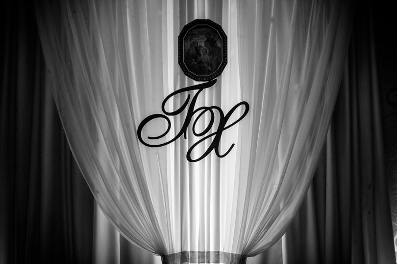 Backdrop with initials