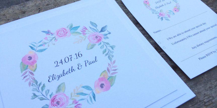 Watercolour wreath invite