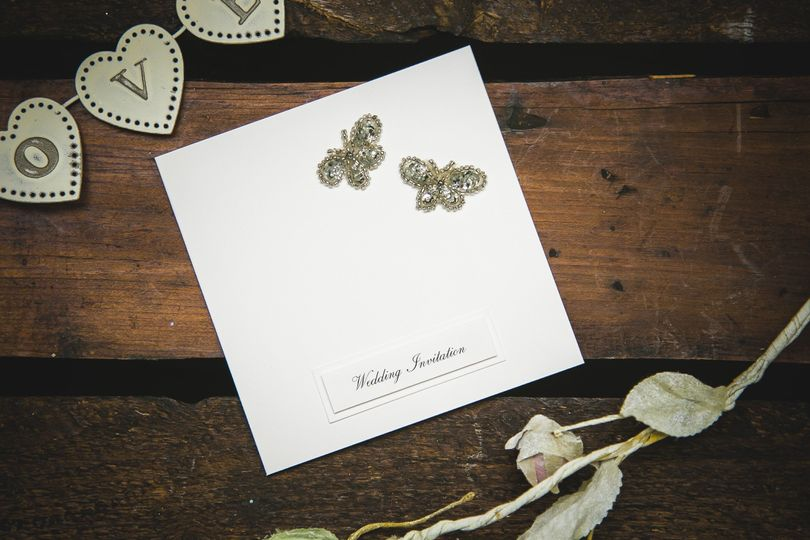 Vintage butterfly invitation