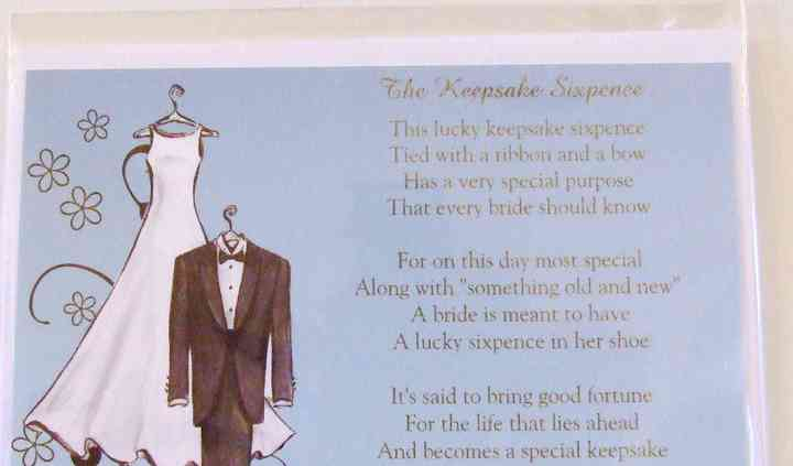 Bride's Keepsake Poem and Lucky Sixpence