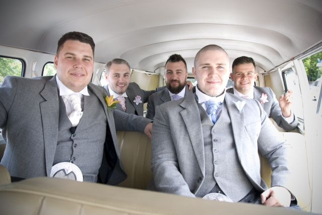 grooms party in vw van from ecosse classic wedding cars photo 12