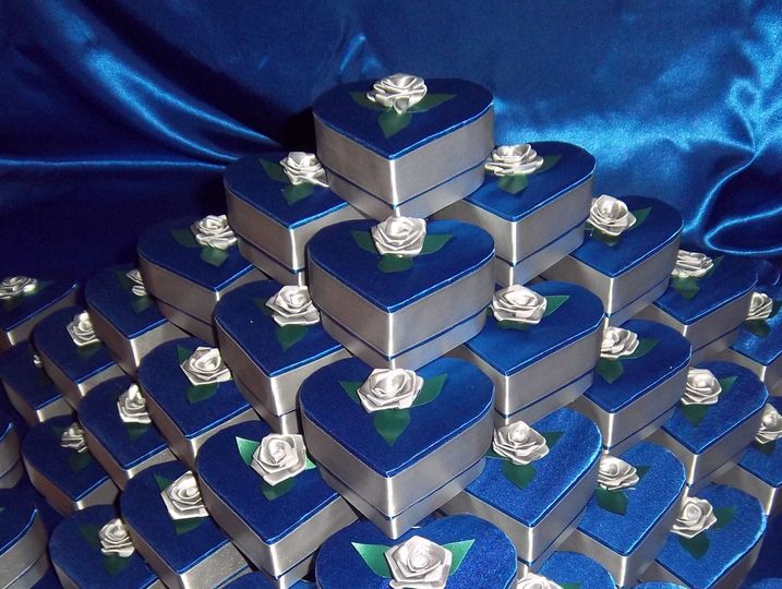 Blue & Silver Hart Shape Boxes