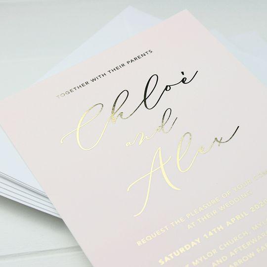 Blush & Gold Foil Invitation