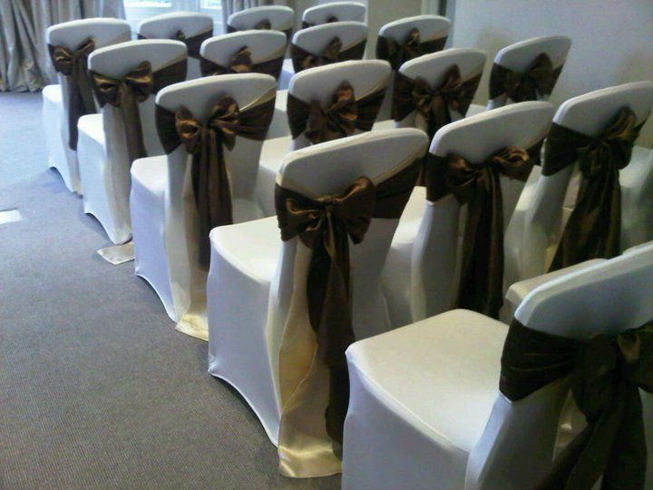 Double satin sash in Chocolate and Champagne