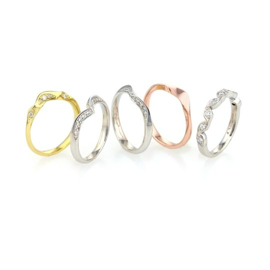 Shaped wedding ring range.