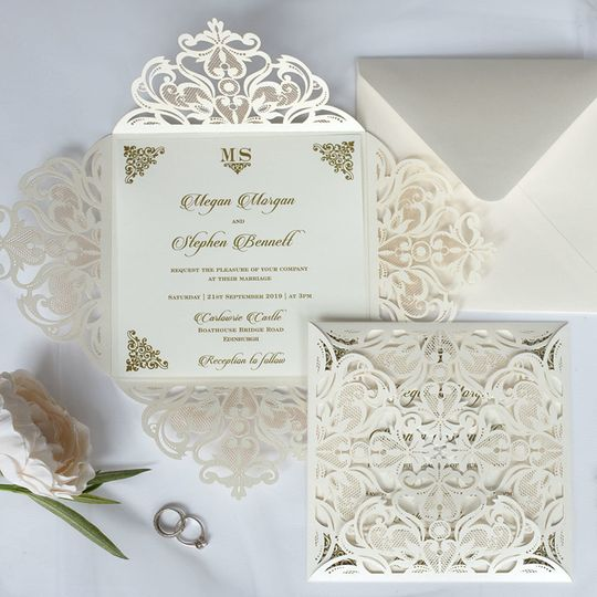 Lacy Petals Ivory invite
