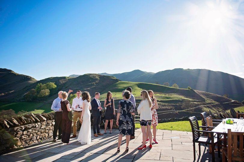 Wedding drinks on the terrace
