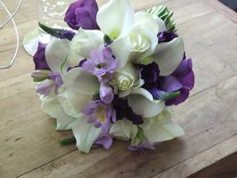 Exotic purple and white bouquet