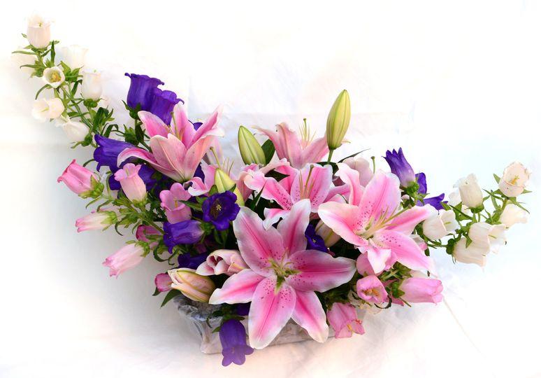 Lily and campanula arrangement
