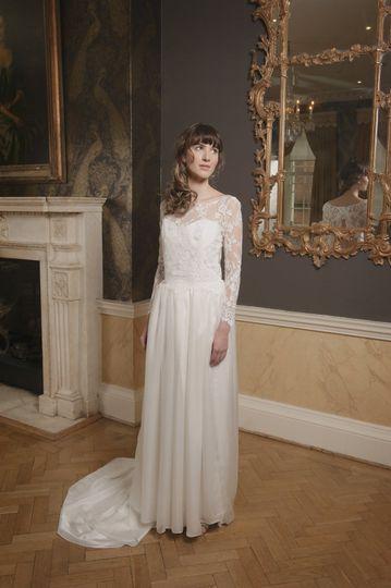 Lace bodice dress silk chiffon