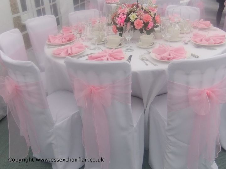 White Linens and pink sashes