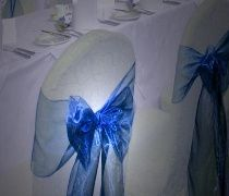 White cover & blue sash