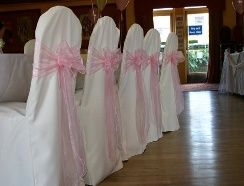 White cover & pink sash