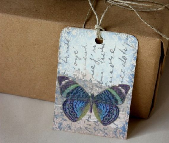 Blue butterfly gift tag