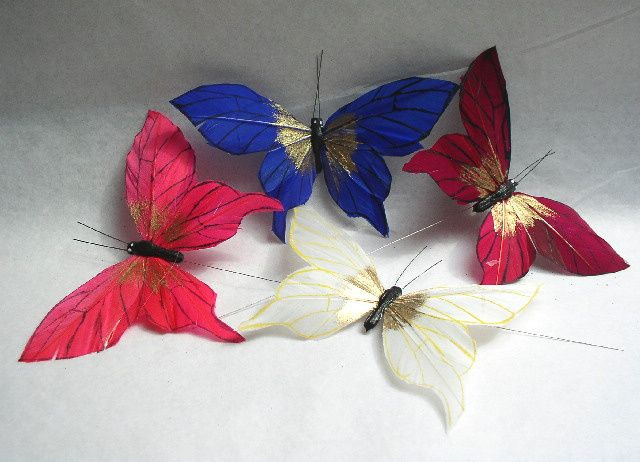 Coloured feather butterflies