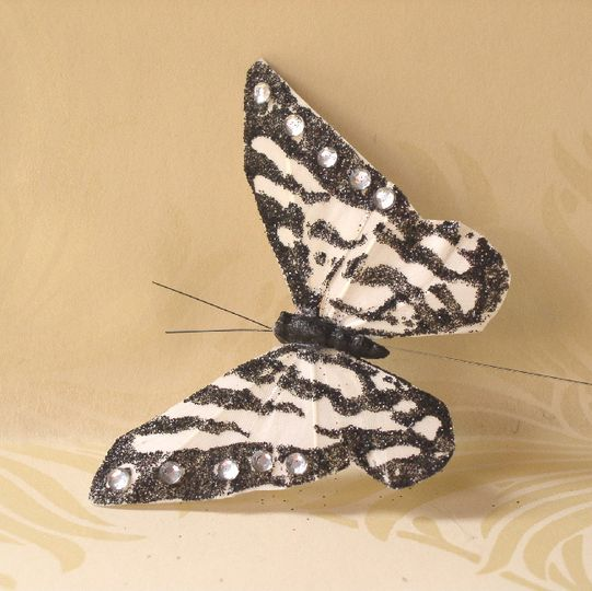 Feather butterfly with black glitter