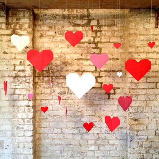 Paper hearts origami backdrop