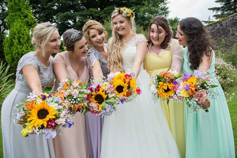 Beautiful bride and maids
