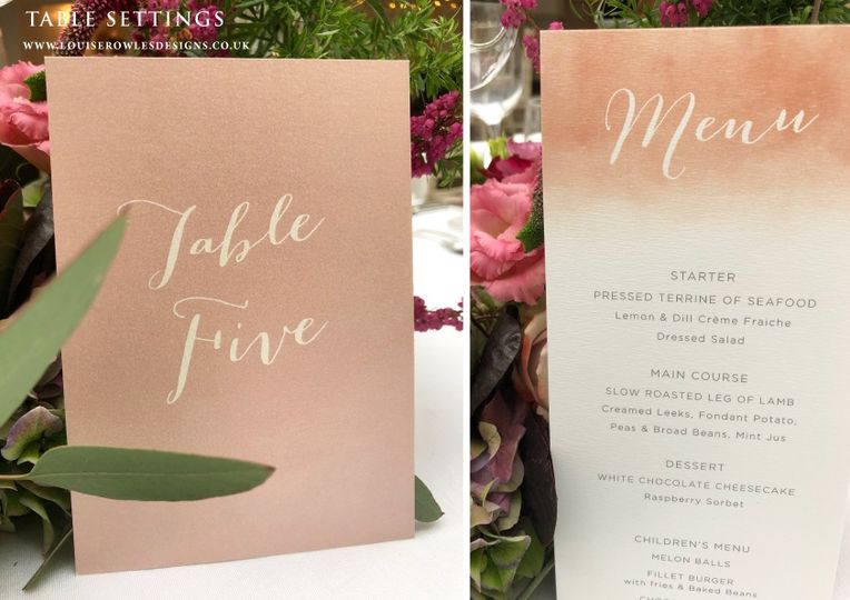 Blush Table number