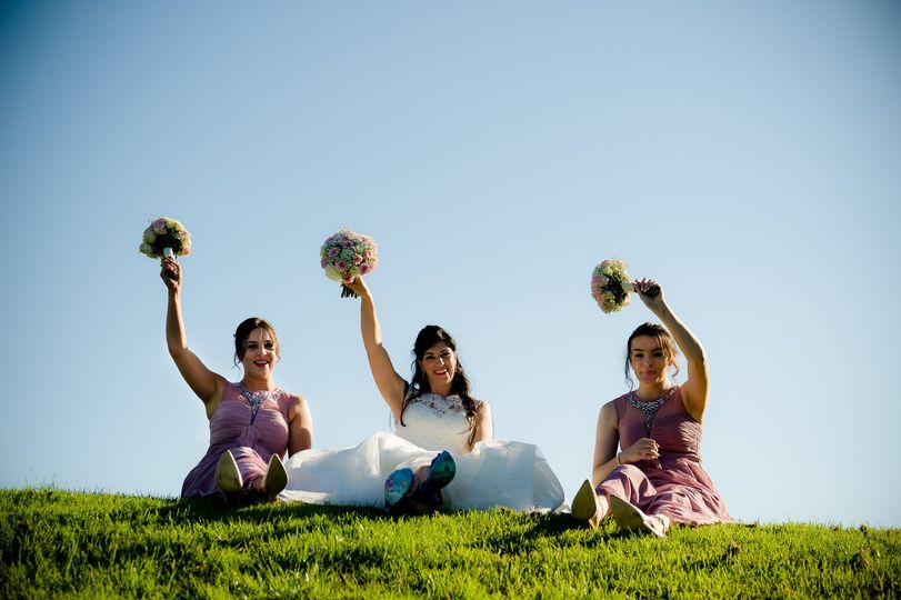 Bride and her bridesmais