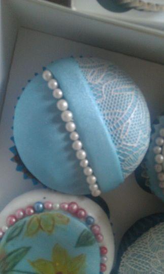 Blue lace cupcake